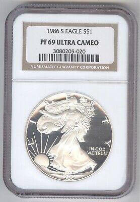 1986 S Eagle S$1 PF 69 Ultra Cameo + American Silver Eagle + NGC + No Reserve!
