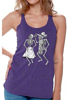 Dancing Skeletons Workout Racerback Tank Top Funny Women's Halloween Party - Dancing Skeletons Halloween