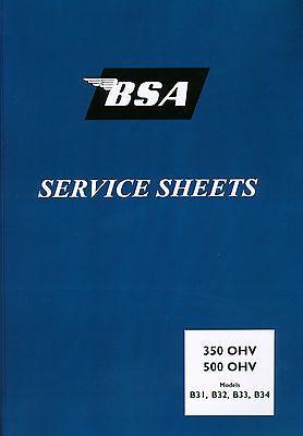BSA Service Sheets B31 B32 B33 B34 Set Swinging Arm Magdyno Carburettor Manual