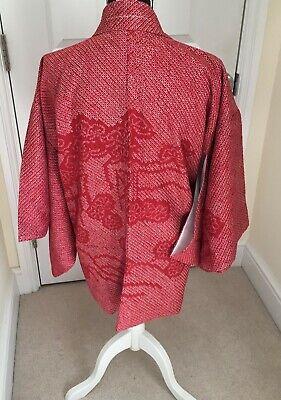 Vintage Japanese Pinkish Red Silk 'Pines' FULL SHIBORI Kimono Haori Jacket S/M