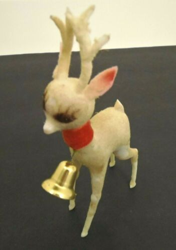 Vintage Flocked Plastic Deer With Bell