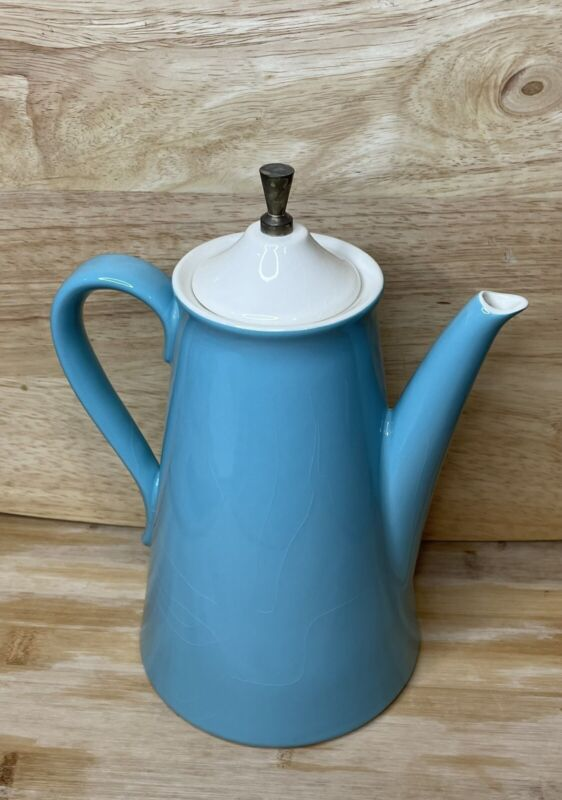 Vintage Salem North Star Turquoise Cream Brass Coffee Pot
