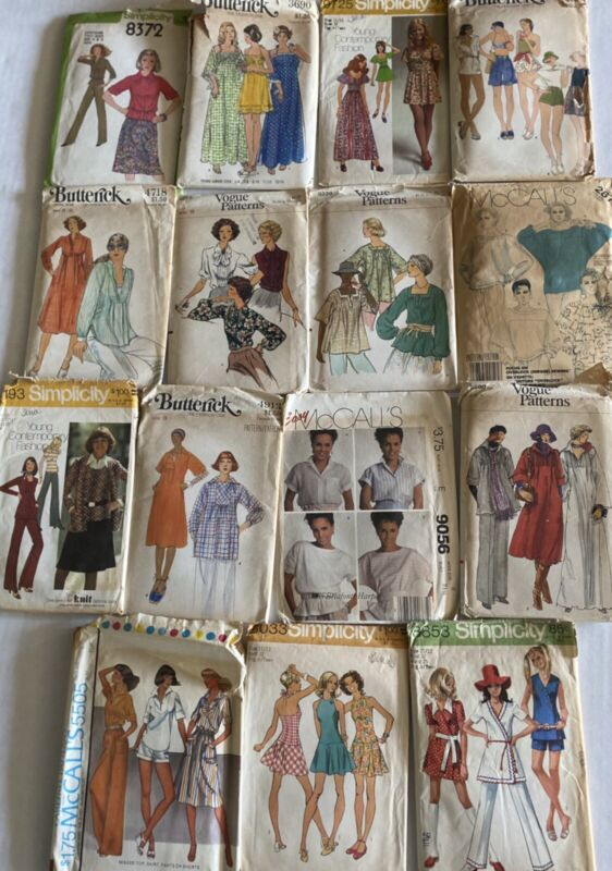 Sz Small -8 Sewing Patterns Dress Top Short Summer 1970/80 's lot Of 15