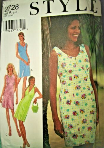 Miss Style 2728 Pattern Fitted Halter Sun Dress 3 Var UNCUT Size 6-8-10-12-14-16