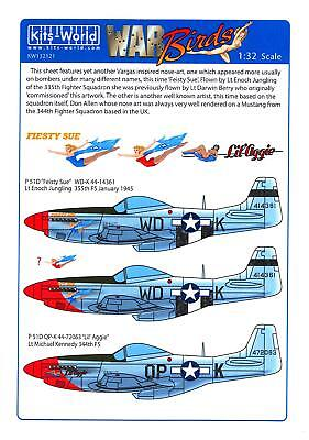Kits World Decals 1/32 NORTH AMERICAN P-51D MUSTANG Fiesty Sue & Lil'