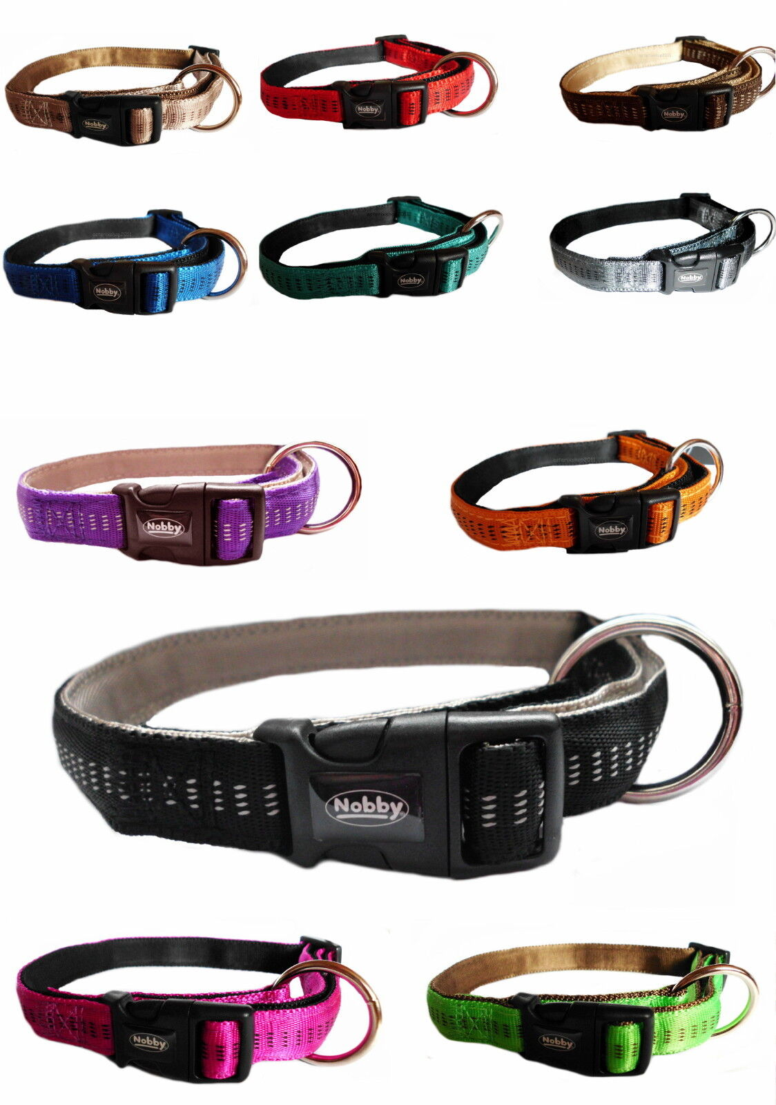 Nobby Halsband Hundehalsband Soft Grip xS S M L xL Nylon 11 Farben 5 Größen