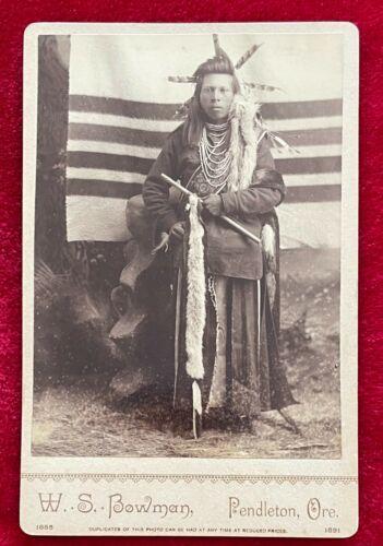 NEZ PERCE NATIVE AMERICAN BRAVE - 1881 PHOTO by W.S. BOWMAN, PENDLETON, OR