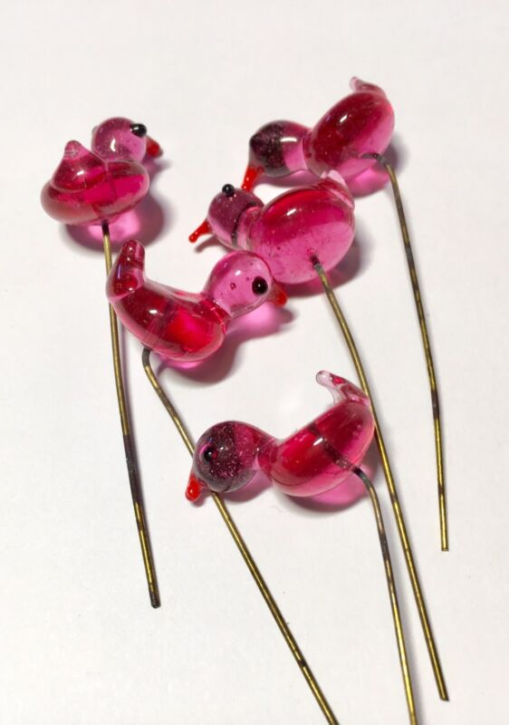 Vintage Murano Glass Clear Pink Bird Headpin Lot Of (5)