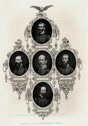 Original Civil War Engraving GENERALS OF THE CONFEDERATE ARMY, Vannerson & Jones