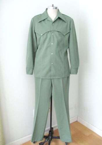 Vtg 70s SUPERFLY Wrangler Green Poly Knit 2-Pc Leisure Western Suit Pearl Snap L