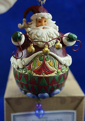 Jim Shore Christmas Ornamament Roly Santa with String Of Bells #4014457
