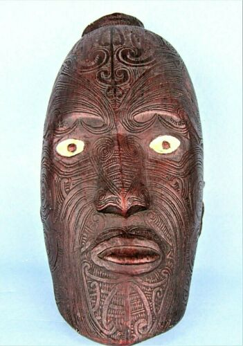 NEW ZEALAND MAORI WARRIOR MASK KORURU TATTOOED HEAD VINTAGE WALL SCULPTURE