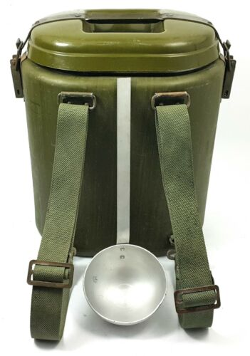 VINTAGE MILITARY THERMOS 12L. SPOON BACKPACK SOVIET POLISH ARMY CANTEEN MESS KIT