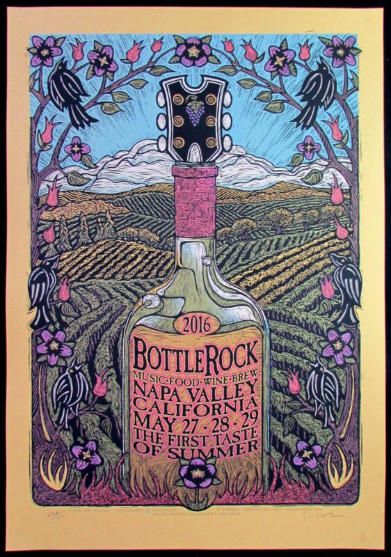 Bottlerock Music Food Wine Brew Fest Poster Napa Valley 2016 Signed Gary Houston