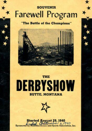 """1940 Butte, Montana """"Farewell Program The Derby Show"""" Rodeo & Sports Assn."""