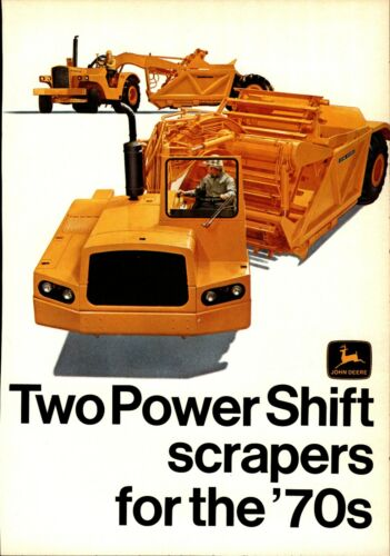 1970 John Deere Equipment Print Advertisement: Power Shift Road Scrapers Shown