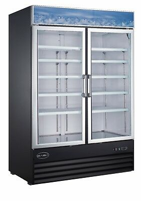 Saba 45 Cu Ft Commercial Merchandiser Freezer Display Case 2 Glass Doors