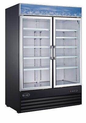 Saba 45 Cu Ft Commercial Merchandiser Freezer Display Case 2 Glass Doors