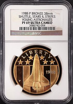 1988 P Proof Young Astronauts bronze medal graded PF 69 Ultra Cameo by NGC!