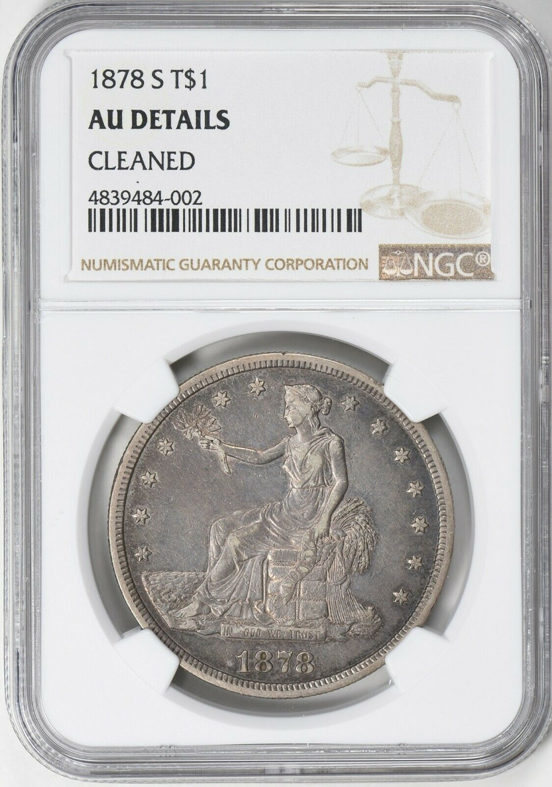1878-S Trade Silver Dollar NGC AU Details Cleaned
