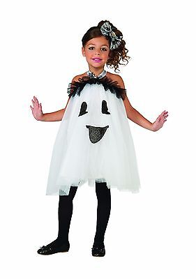 Girls Ghost Tutu Costume Crinoline Frilly Ruffled Fancy Dress Halloween Kids S M - Ghost Kids Costume
