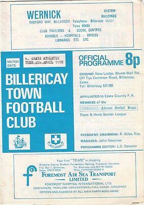 Billericay Town v Grays Athletic 1977/8 (4 Apr) Athenian League