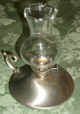 "VINTAGE CONNECTICUT HOUSE/LAMPLIGHT FARMS HANDCRAFTED PEWTER OIL LAMP 6 1/2""H"