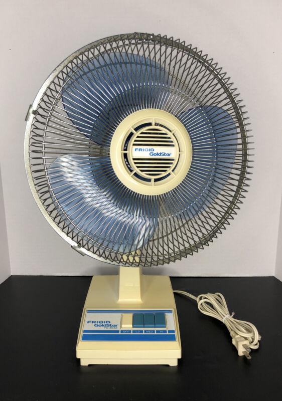 """Vintage Frigid Goldstar 12"""" Oscillating 3 Speed Tabletop Fan FD-3032 Blue"""