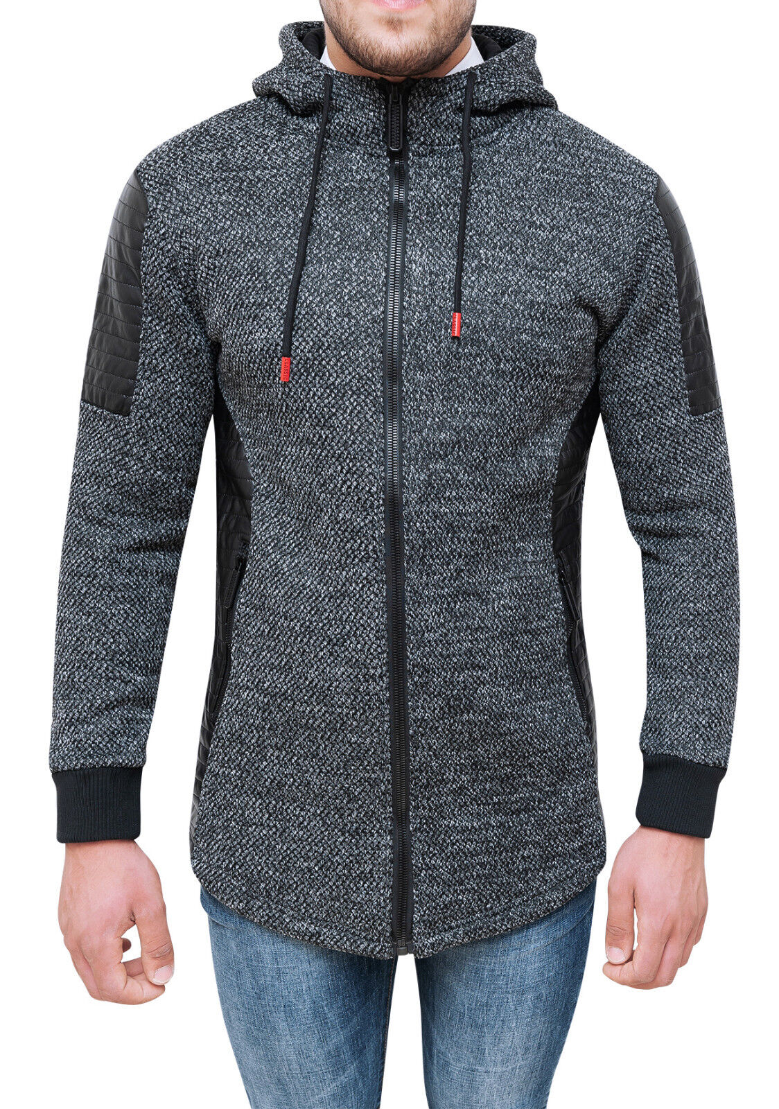 pretty nice cddb5 6666d CARDIGAN GIACCA UOMO TWEED NERO CASUAL INVERNALE GIUBBOTTO ...