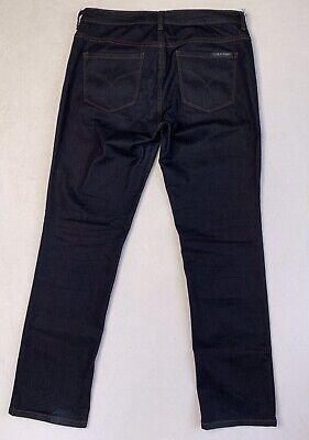 CALVIN KLEIN Jeans Womens 12 Dark Denim Straight Leg Stretch 12 x (Calvin Straight Leg Jeans)