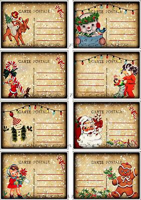 8 CHRISTMAS SNOWMEN POSTCARD SANTA HANG / GIFT TAGS FOR SCRAPBOOK PAGES (73) ()
