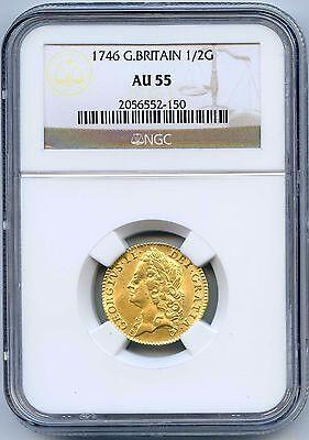 1746 Great Britain Gold Half Guinea. NGC Graded AU 55. Lot #2219