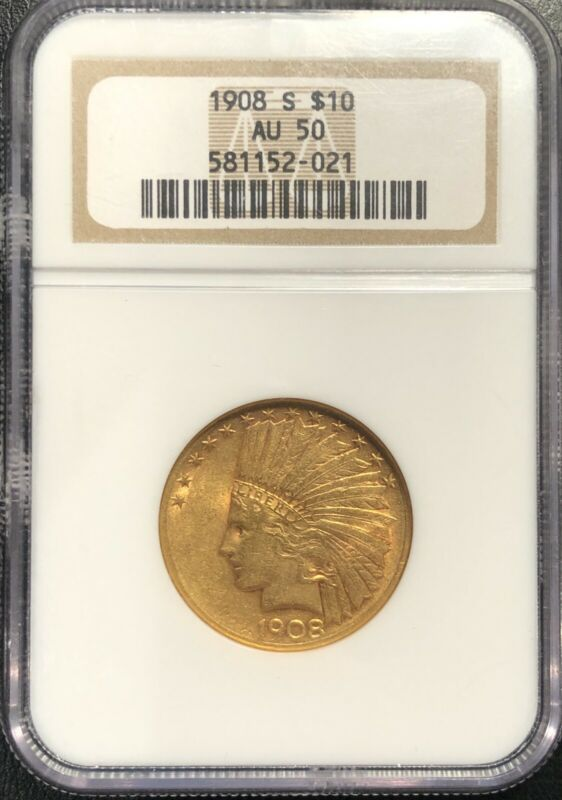 1908 S $10 Gold Indian Eagle AU 50 NGC, Nice Color Better Date!