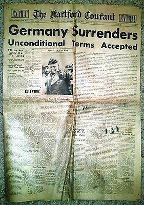 Hartford Courant   May 7  1945   Germany Surrenders Unconditional Terms Accepted