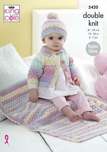 14c03501f7e King Cole 5420 Knitting Pattern Baby Childrens Cardigan Hat Blanket -  Beaches DK