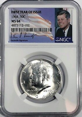 - 1964 P NGC MS64 SILVER KENNEDY HALF DOLLAR FIRST YEAR ISSUE JFK COIN SIGNATURE