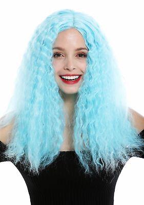 Perücke Damen Lang Voluminös kraus Locken Mittelscheitel Hellblau Blau  (Lange Hellblaue Perücke)