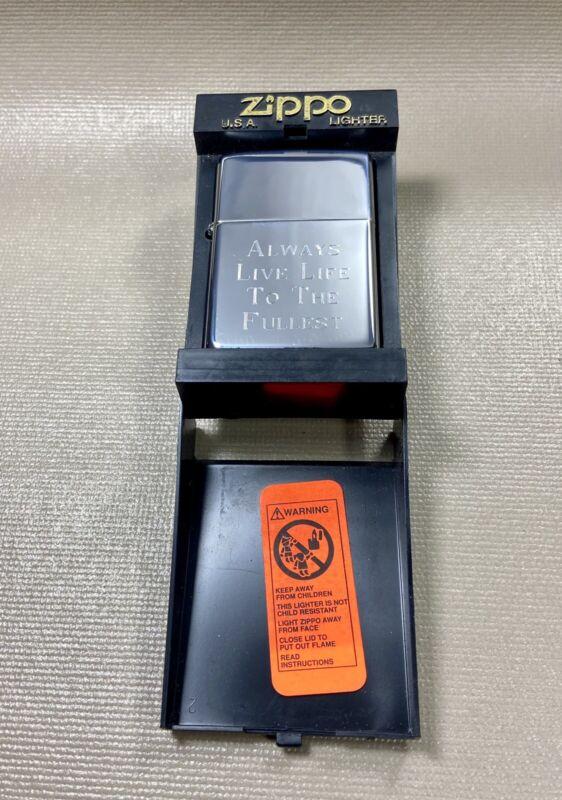 "2002 ZIPPO CIGARETTE LIGHTER NOS - Engraved ""Always Live Life to the Fullest"""