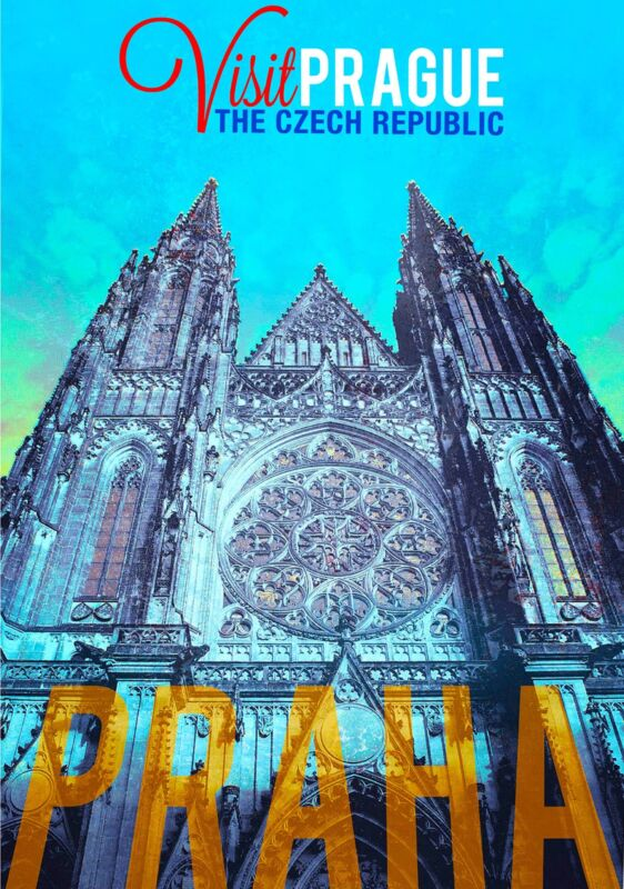 Praha Visit Prague Czech Republic Europe Vintage Advertisement Travel Poster