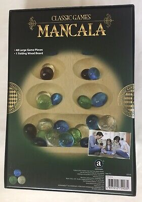 Classic Games Mancala Wooden Board Game 48 Piece Marble Stone Ages14+ Sealed NEW (Mancala Marble Game)