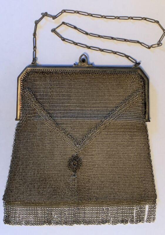 Vintage Whiting & Davis metal mesh purse w/ sapphire closure divided inside, fri