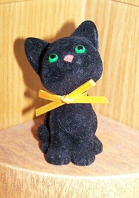Hallmark Merry Miniature 1982 Halloween BLACK KITTEN with bow CAT - Merry Halloween