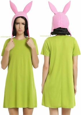 Louise Halloween Costume (Licensed Louise Belcher Cosplay Halloween Costume With Dress And Bunny Ears)