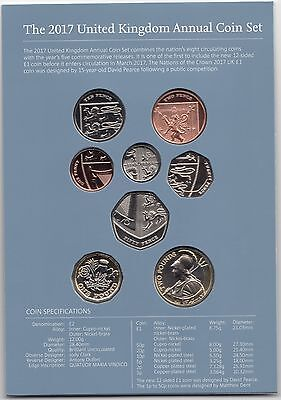 2017 Royal Mint Definitive BUNC 8 Coin Set From 1p to £2 - Includes New £1 Coin
