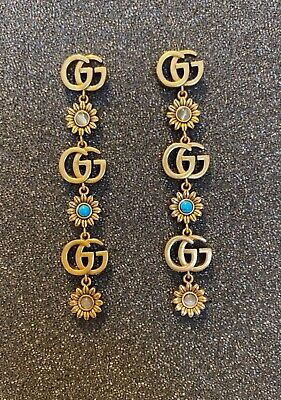 Gucci earrings. Turquoise set in antiqued gold XR 423