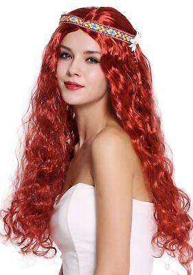 Perücke Blumenkind Hippie 60er 70er lang rot wellig Mittelscheitel Stirnband