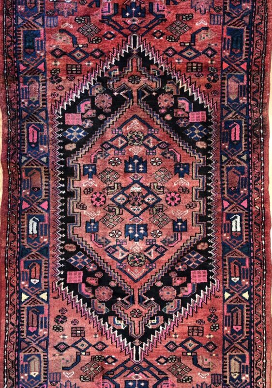 Handsome Hamadan - 1940s Antique Persian Rug - Tribal Carpet - 3.6 X 6.10 Ft.