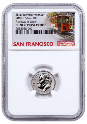 2018-S Silver Reverse Proof Roosevelt Dime NGC PF70 FDI Trolley Label SKU55089
