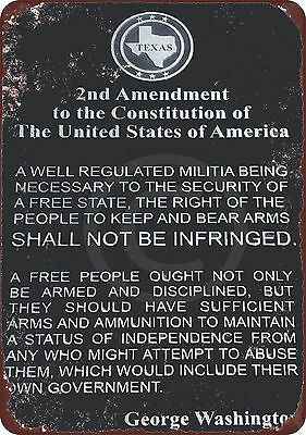 The 2nd Amendment G. Washington Vintage Look Reproduction Metal Sign 8 x - Washington Sign