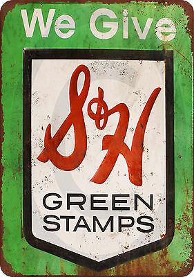 S&H Green Stamps vintage reproduction metal sign 8 x 12 made USA Stamp Metal Sign